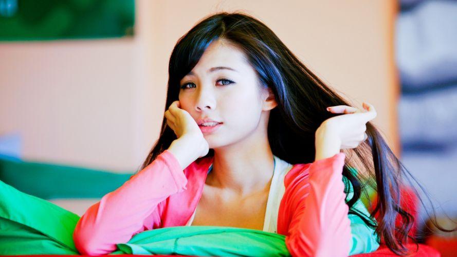 Asian Brunette women face babes wallpaper