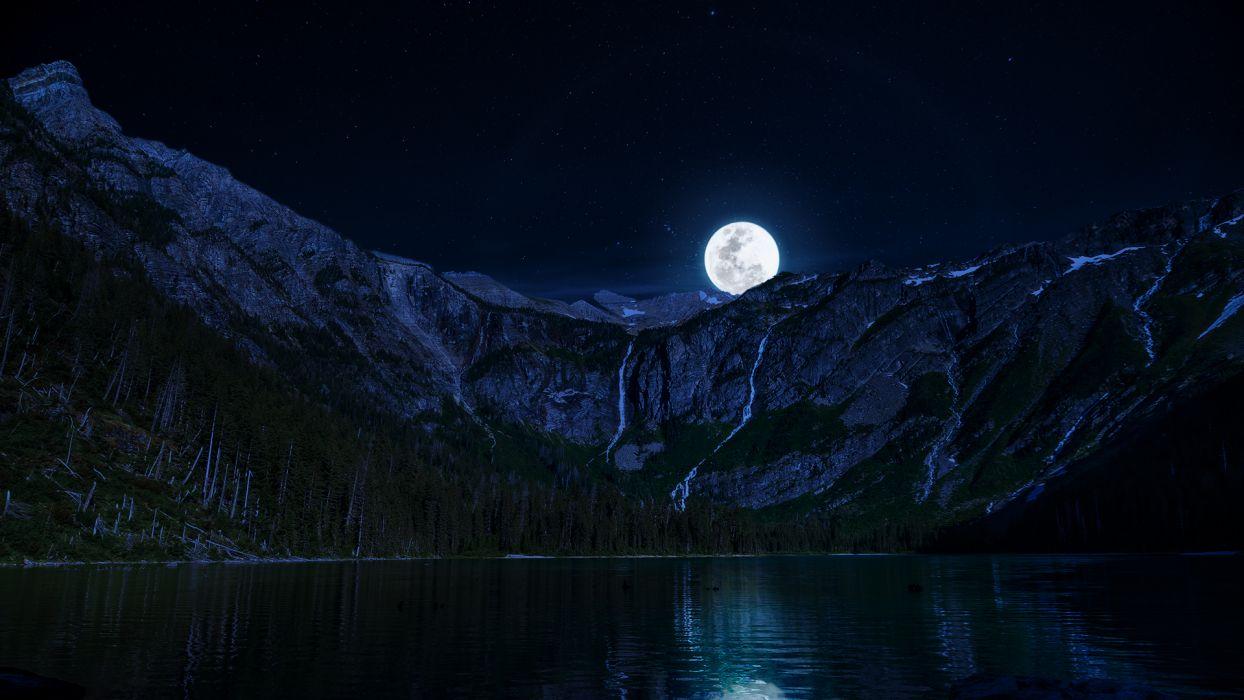 Lake Night Moon Mountains wallpaper