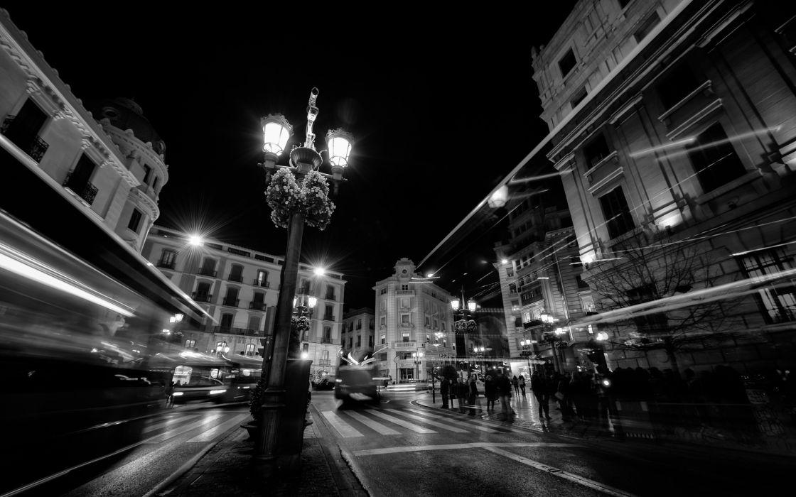Lantern Lights BW Street Timelapse Buildings lamp post crowds people wallpaper
