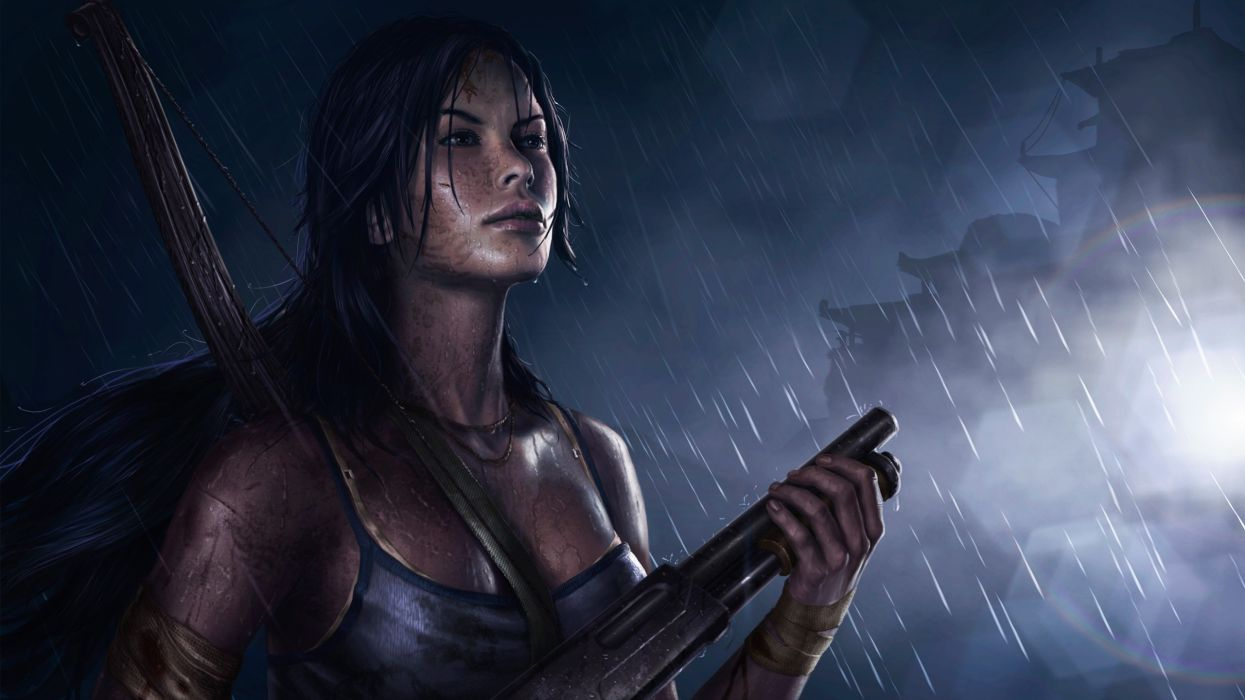 Lara Croft Tomb Raider Rain Shotgun weapons wallpaper
