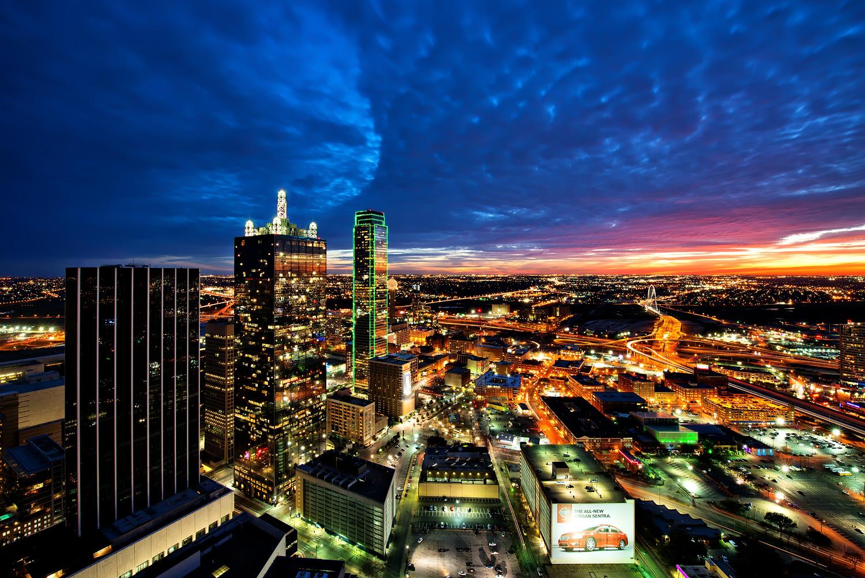 Houston Buildings Skyscrapers Night Lights Wallpaper