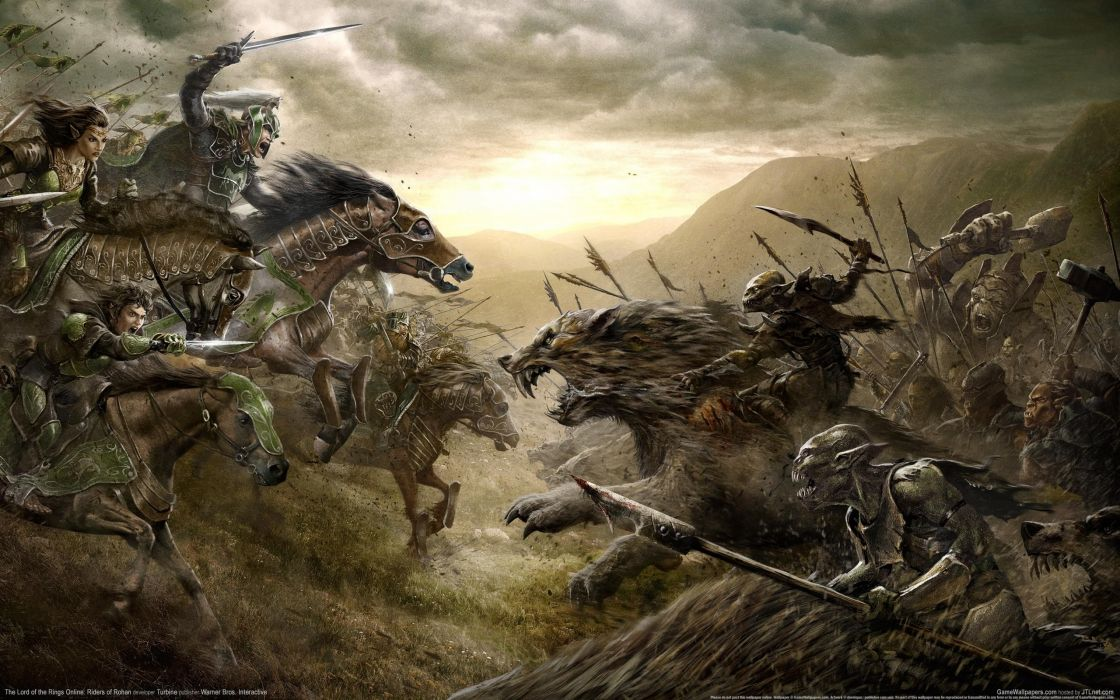 The Lord of the Rings Riders of Rohan Horse Drawing Battle Orc wallpaper