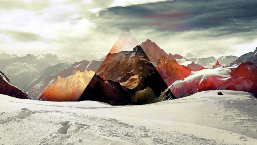 Triangle Snow Abstract mountains sky wallpaper