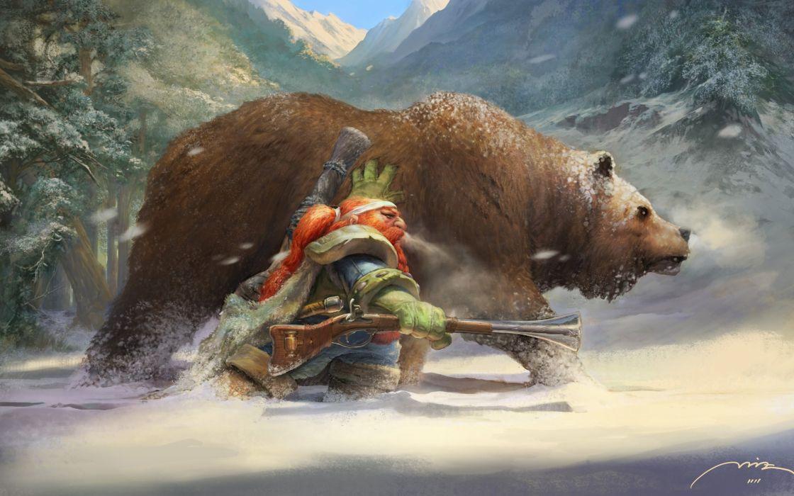 World of Warcraft WOW Dwarf Drawing Bear wallpaper