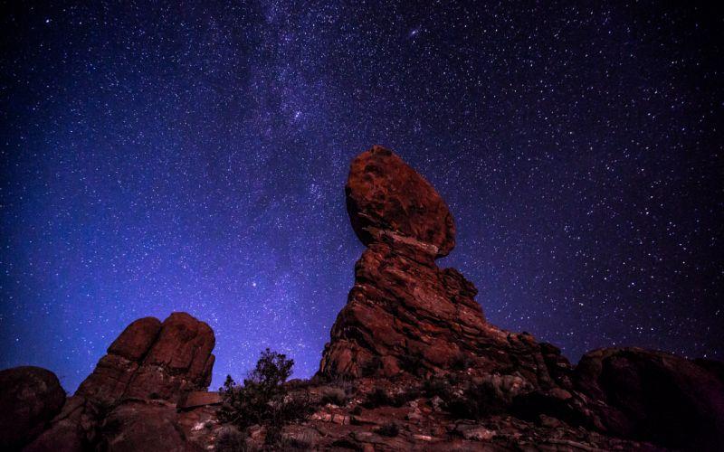 Stars Night Rocks Stones mountains wallpaper