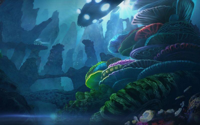 art underwater ship transport reefs corals rocks light fantasy ocean sci-fi vehicles wallpaper