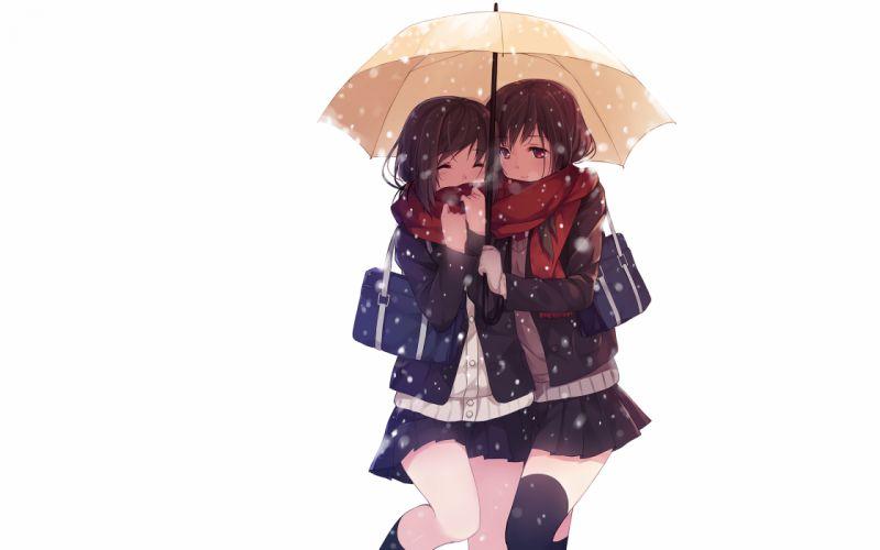 Anime White Umbrella girls wallpaper