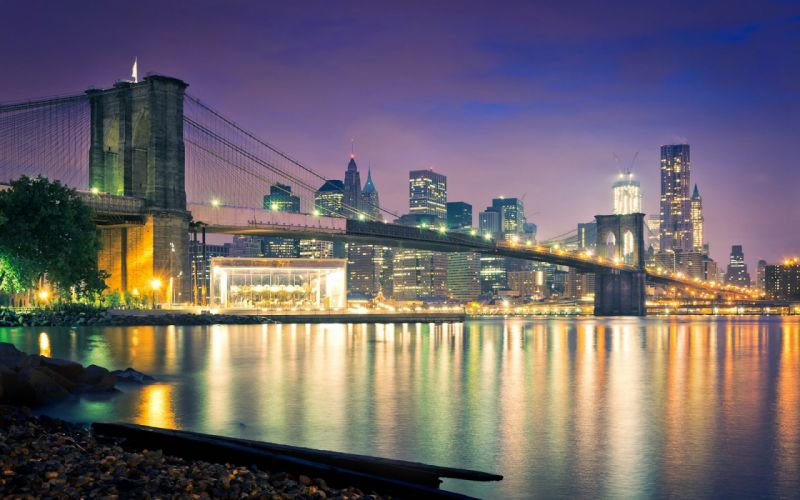 Brooklyn Bridge Bridge New York Buildings Skyscrapers Ocean Night reflection wallpaper