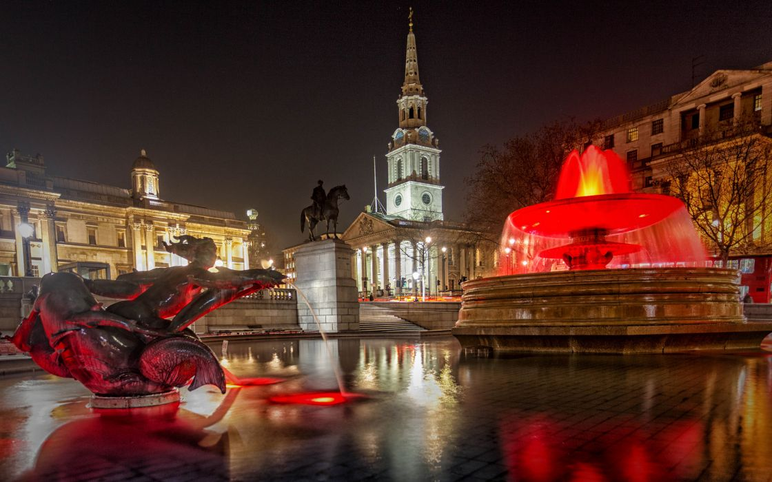 Buildings Night Fountain Statue reflection wallpaper