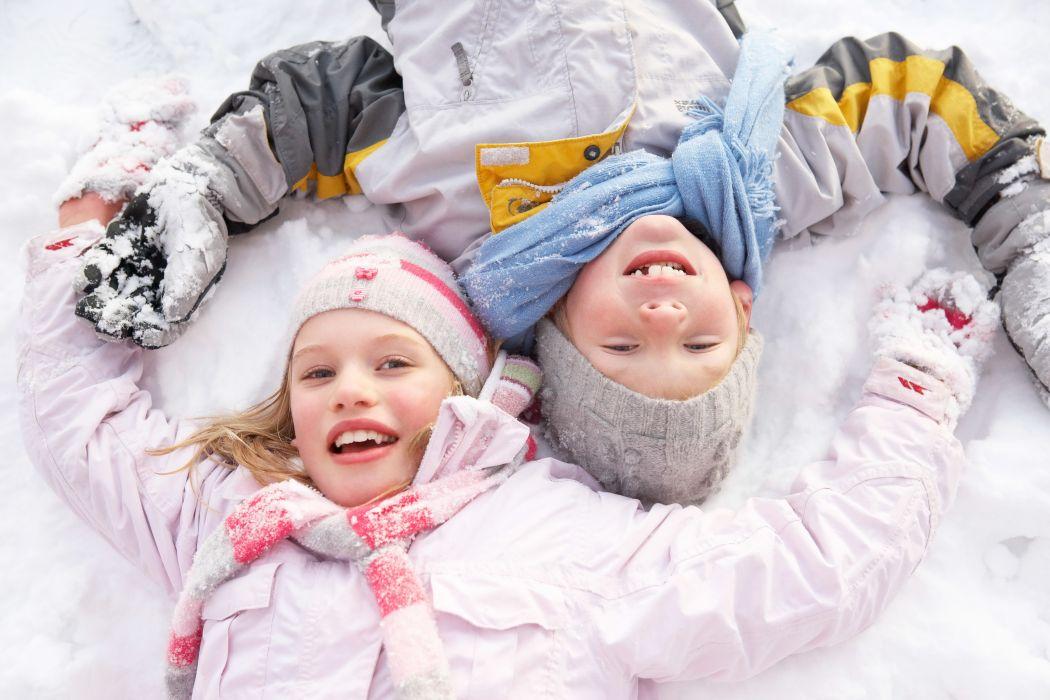 Children Little girls Smile Snow Winter hat Glance wallpaper