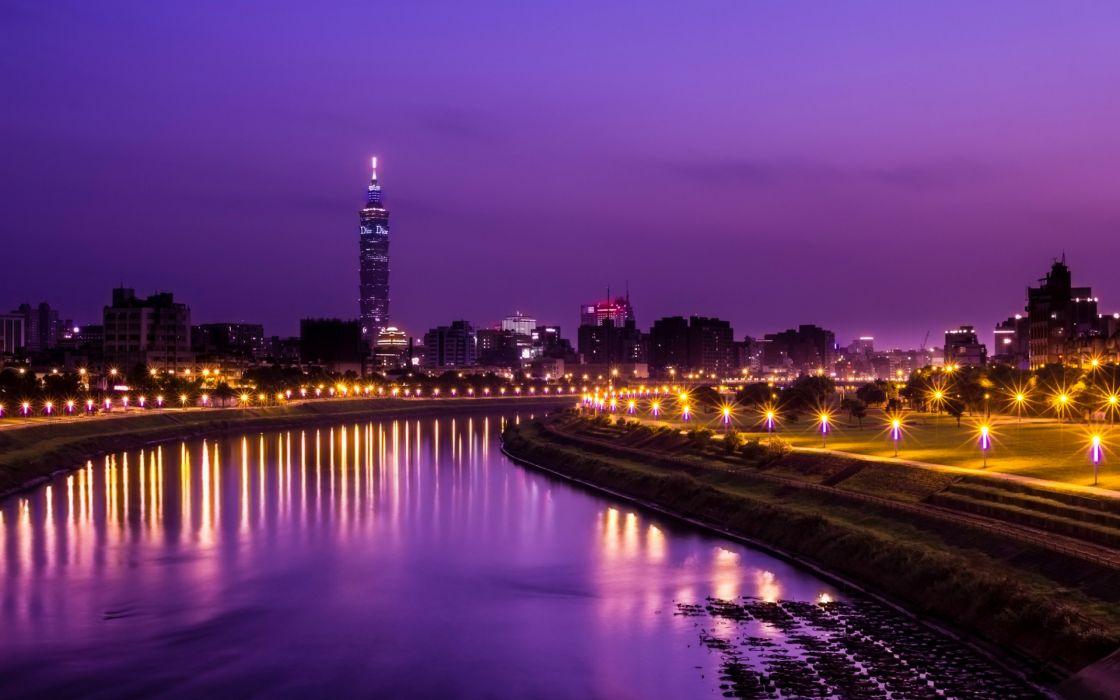 China Taiwan Taipei cities lights sky clouds buildings skyscraper rivers reflection lights wallpaper