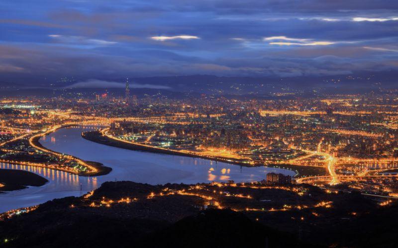 China Taiwan Taipei cities lights sky clouds wallpaper