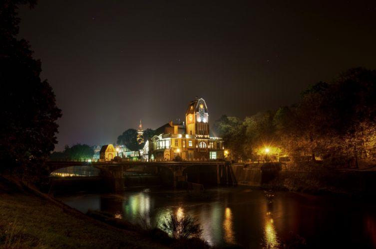 Czech Republic Rivers Bridges Night Cities wallpaper