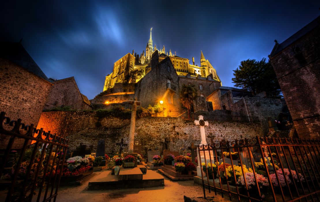France Mont Saint Michel Night HDR Cities cathedral castle buildings wallpaper