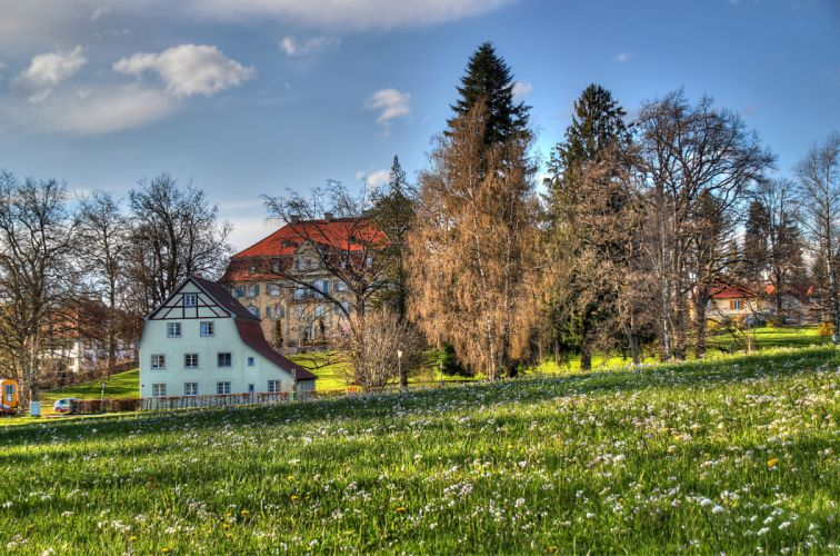 Germany Isny im Allgau Grass HDR Cities trees wallpaper