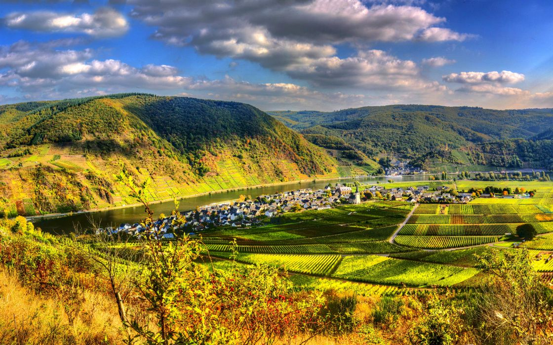 Germany Mountains Fields Scenery Ellenz Poltersdorf HDR rivers town landscapes wallpaper