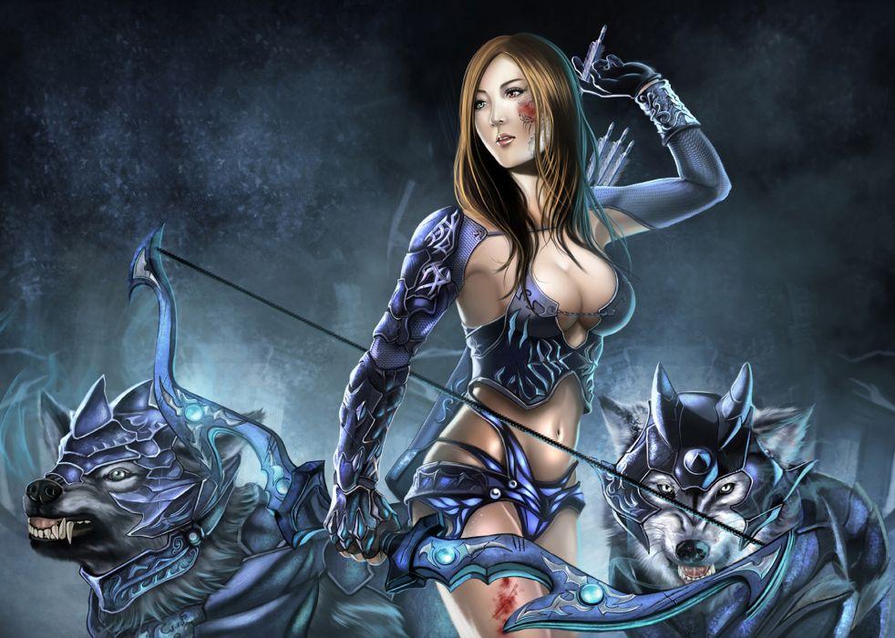 girl  bow  arrows  wolves  armor  warrior women sexy babes wallpaper