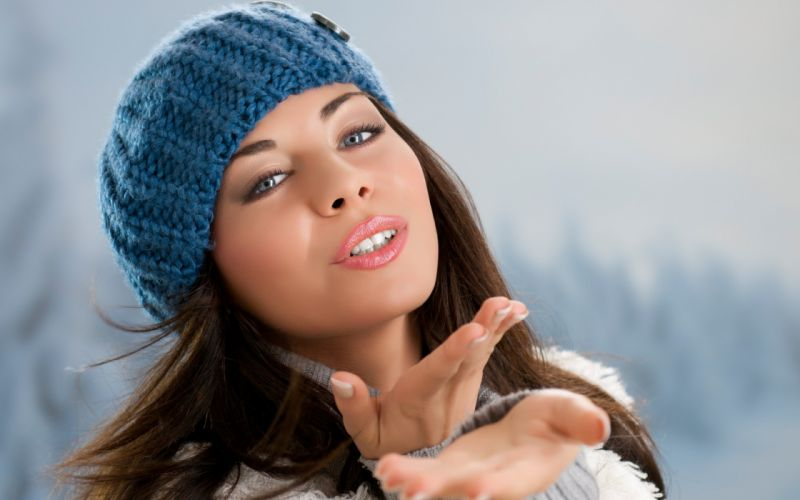girl brunette eyes hat face women female wallpaper