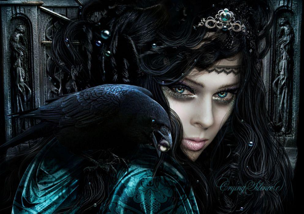 Gothic Crows Glance Brunette girl Hair Fantasy Girls dark women females face birds wallpaper