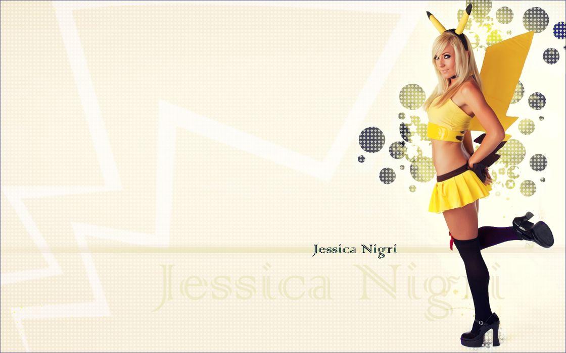 Jessica Nigri Blonde Cosplay Pokemon Pikachu women females girls sexy babes wallpaper