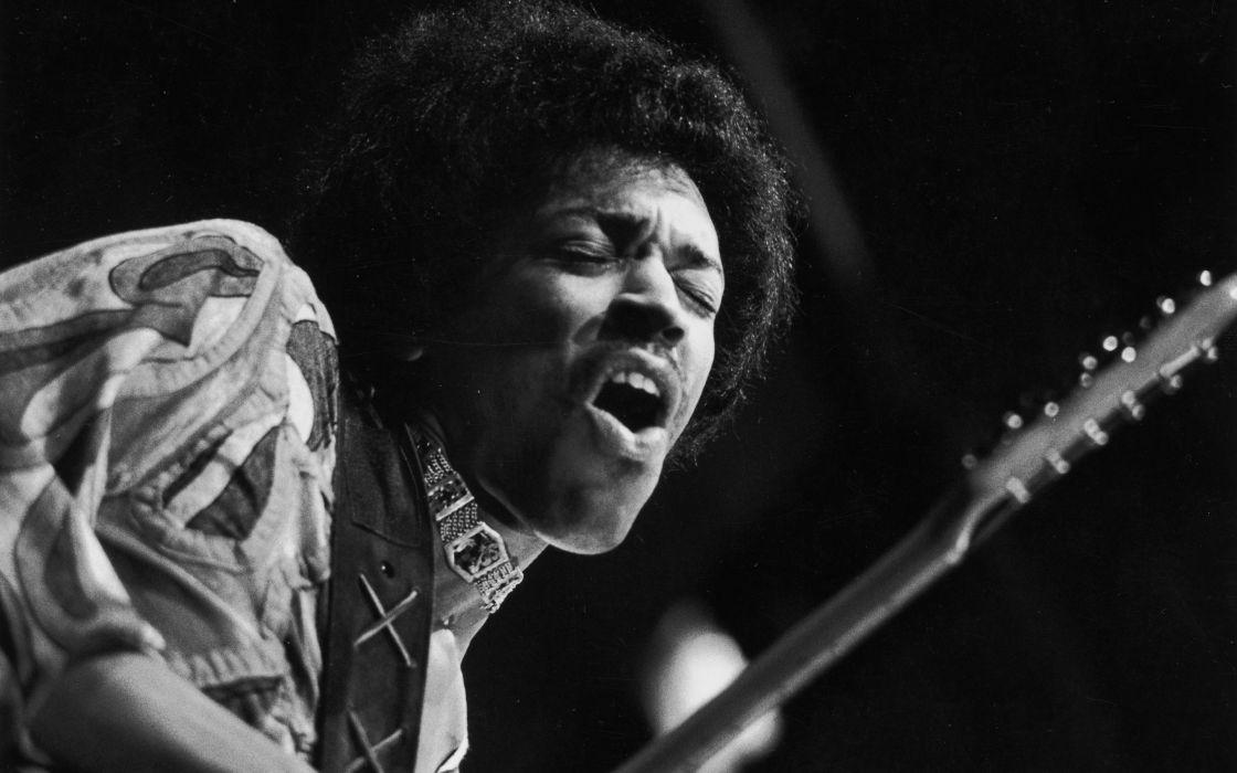 Jimi Hendrix BW guitar wallpaper