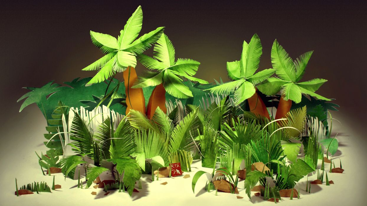 Jungles tropical palm trees bushes leaves paper cardboard