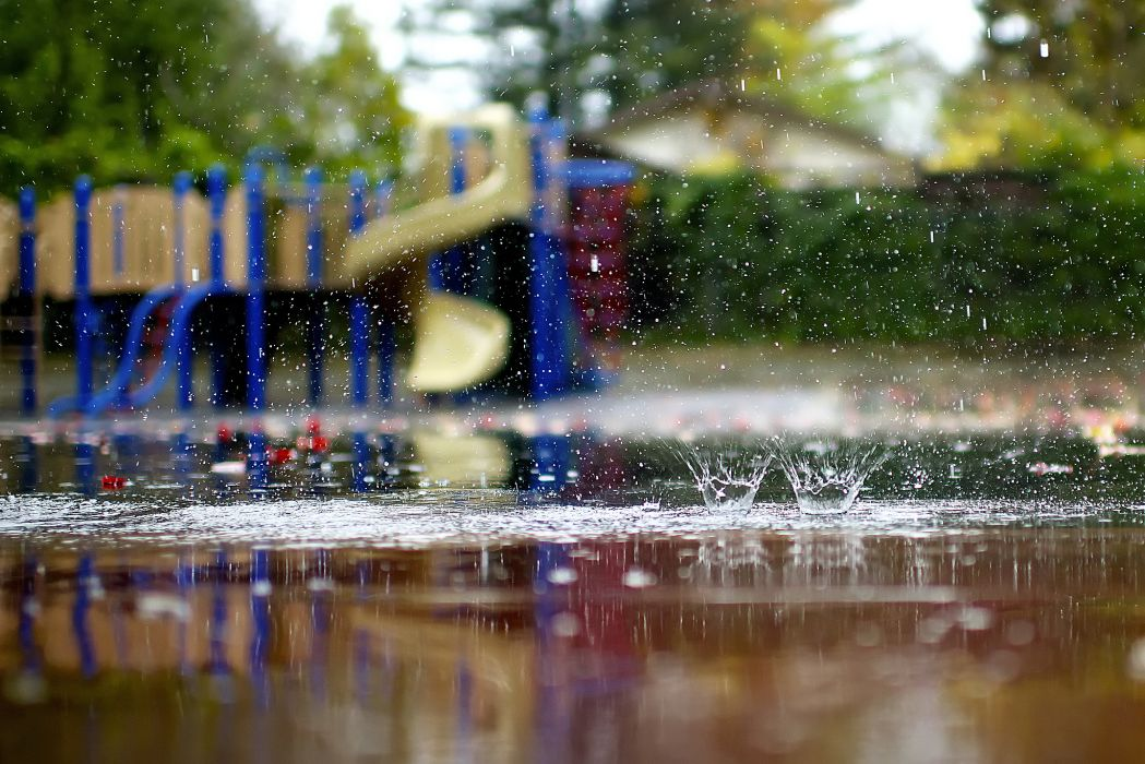 macro playground rain puddles splashing autumn drops water reflection wallpaper