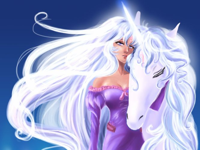 Magical animals Unicorns Hair Blonde girl Fantasy Girls wallpaper