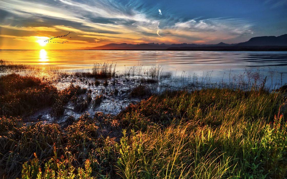 lakes ocean sea sunset birds sky mountains wallpaper