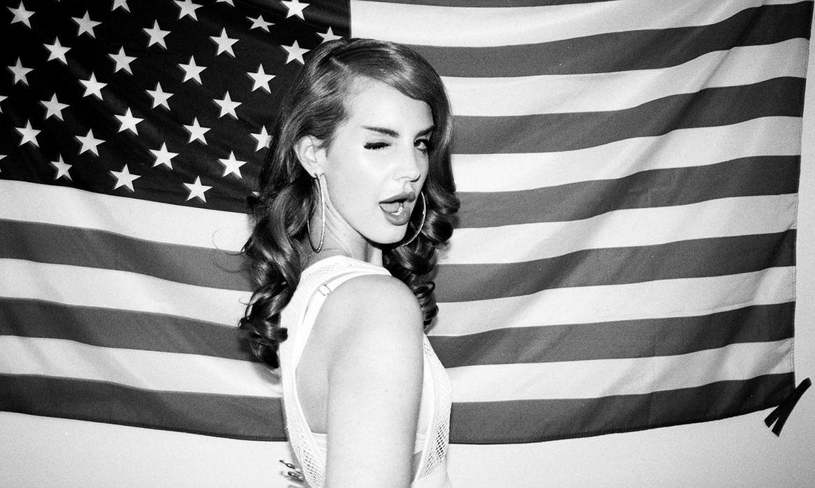 Lana Del Rey Brunette Bw American Flag Women Females Wallpaper