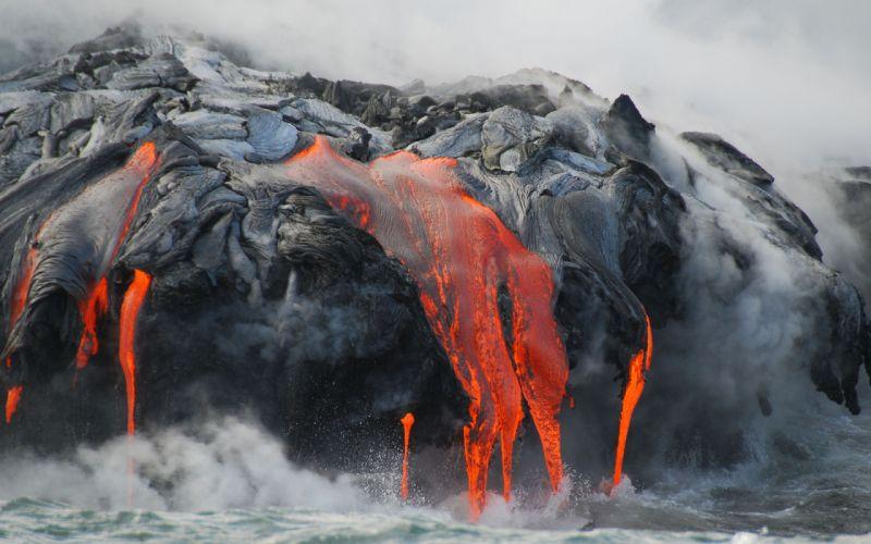 lava ocean drops fire wallpaper