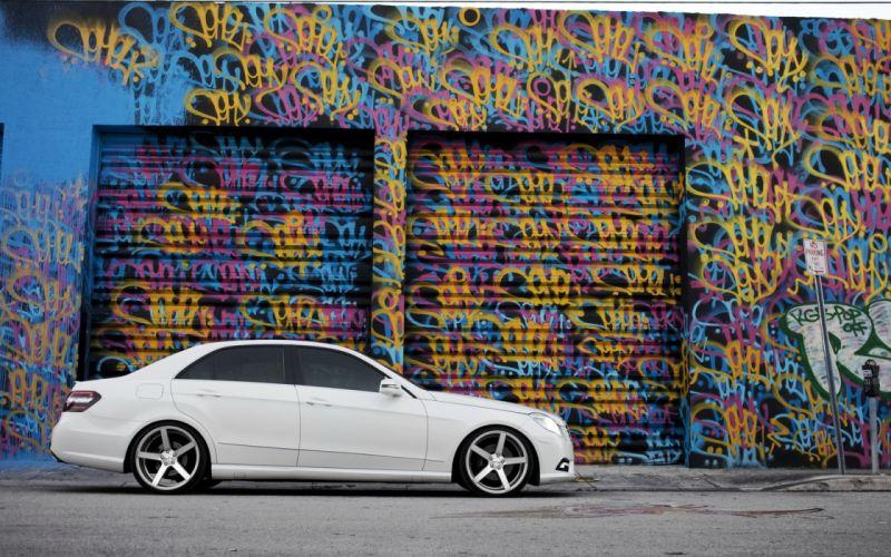 Mercedes E Class tuning white graffiti tinting wallpaper
