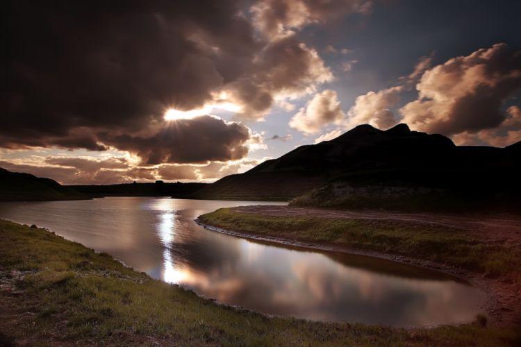nature landscape lakes sky clouds sunset sunrise reflection wallpaper