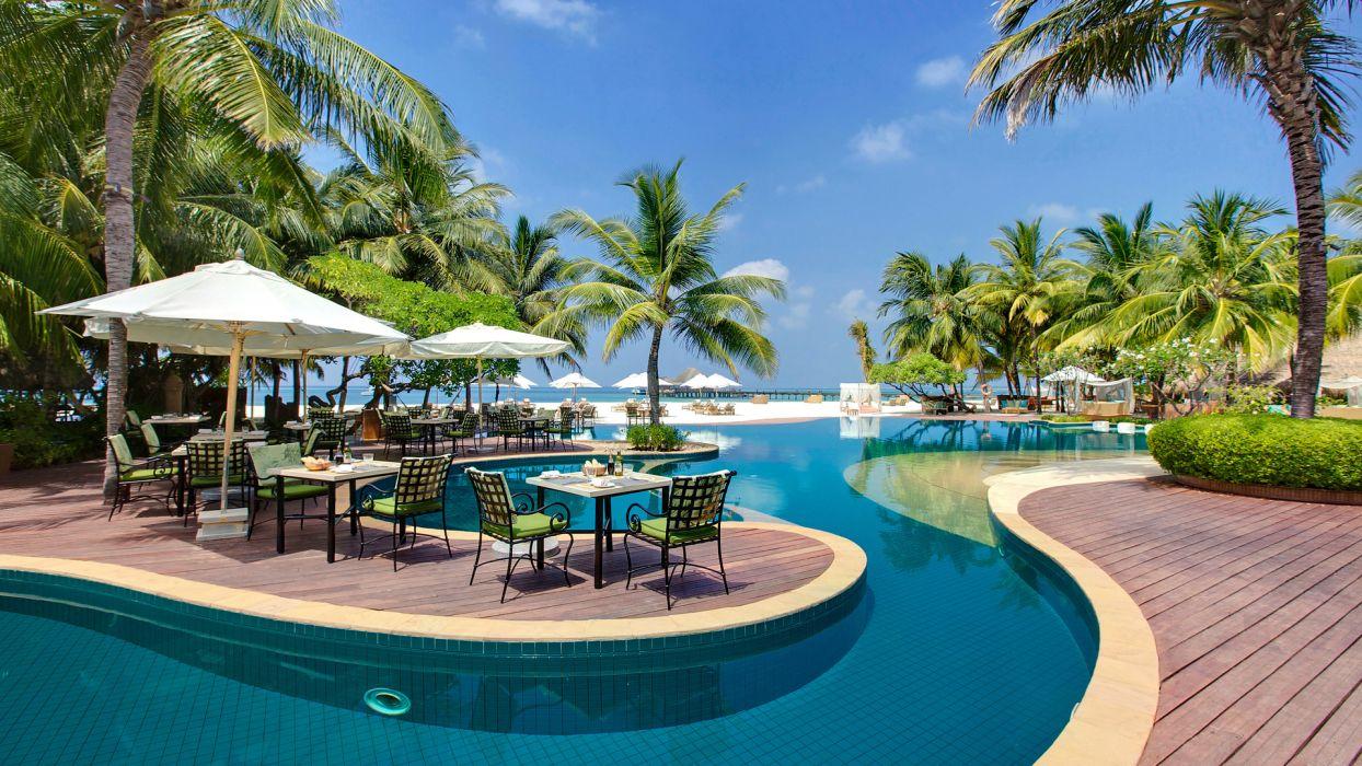 palms Maldives pool table maldives deck chairs wallpaper