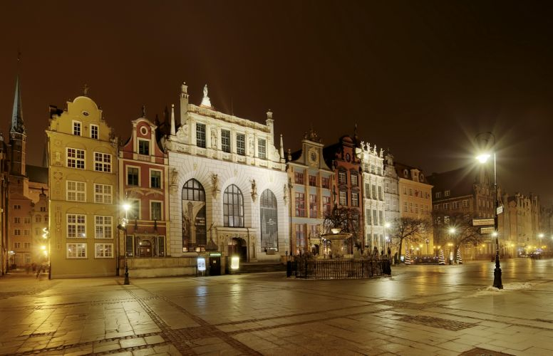Poland Houses Gdansk Night Street Street lights Pavement Cities buildings wallpaper