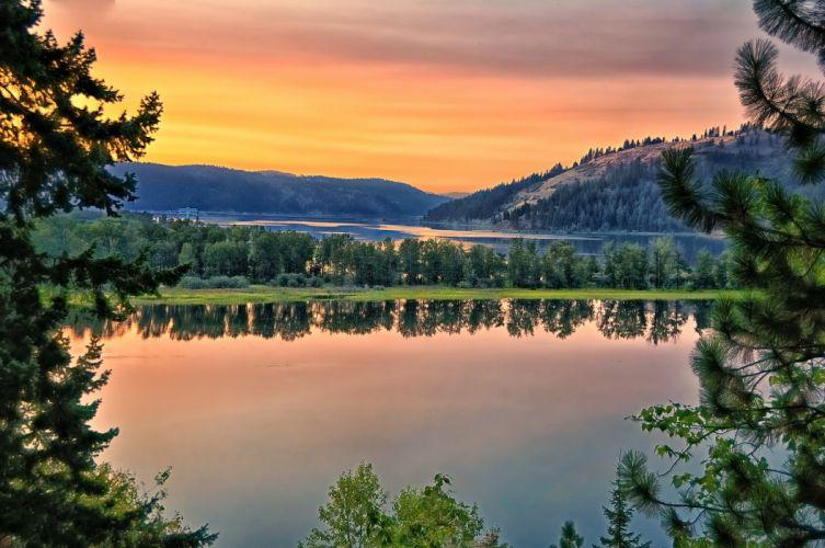 Saint Joe River river hills reflection trees landscape wallpaper