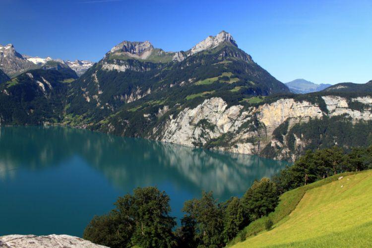 Scenery Switzerland Mountains Lake Morschach Nature wallpaper
