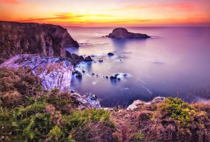 sea sunset rocks coast ocean wallpaper