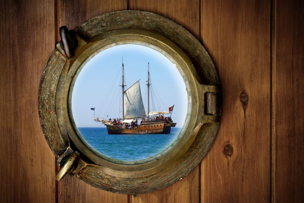Ships Sailing window boats ocean sea wallpaper