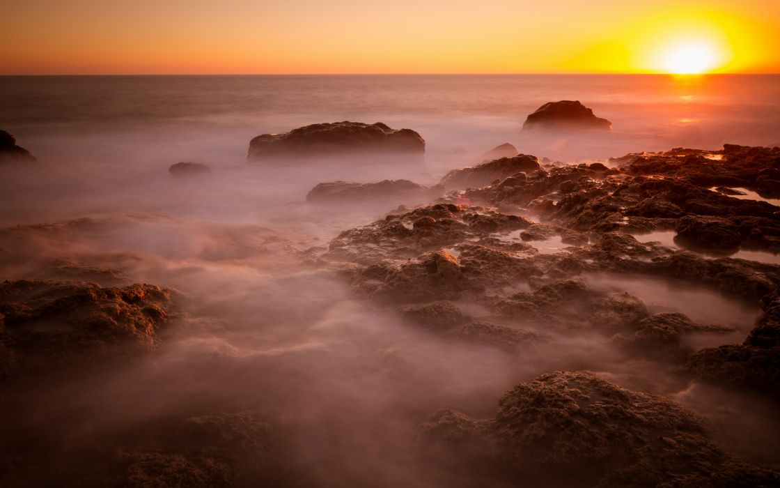 Sunset Ocean Rocks Stones beaches   r wallpaper