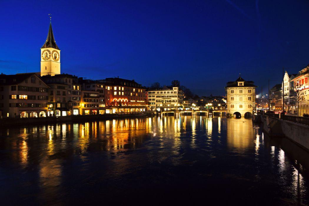 Switzerland Rivers Zurich Night Cities reflection buildings wallpaper