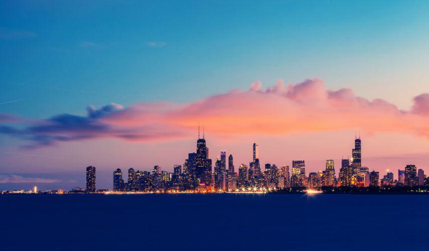 USA Illinois Chicago Lake Michigan endurance evening sunset sky clouds wallpaper