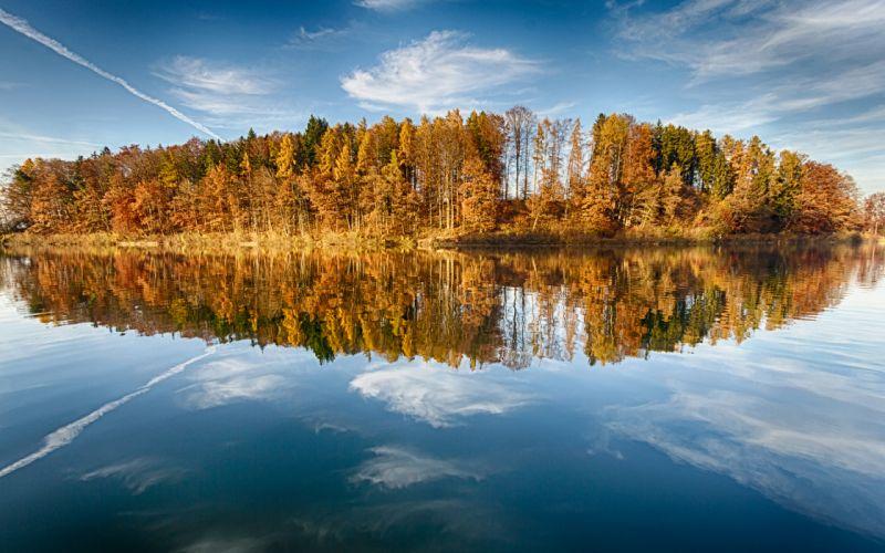 Trees Lake Reflection autumn wallpaper