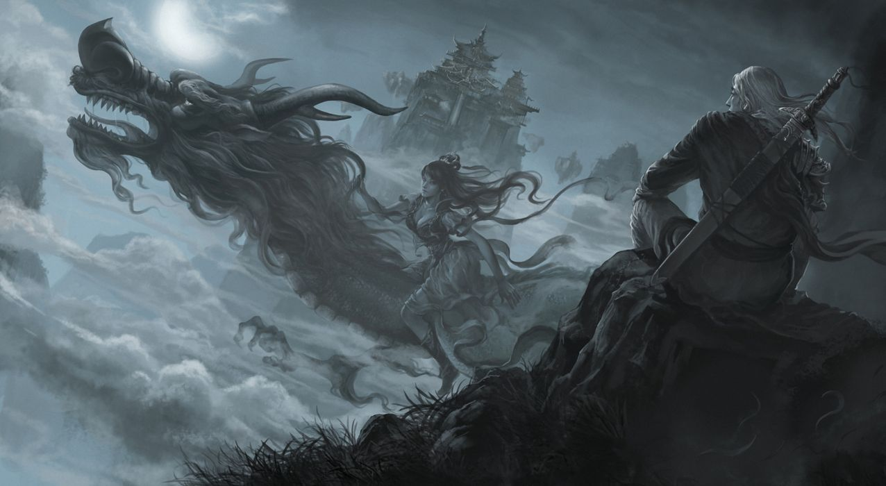 Warriors Dragons Fantasy Girls wallpaper