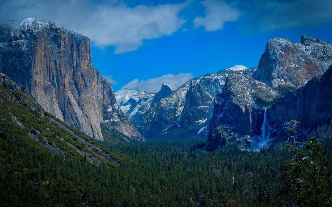 Yosemite National Park mountains forests waterfalls nature trees sky wallpaper