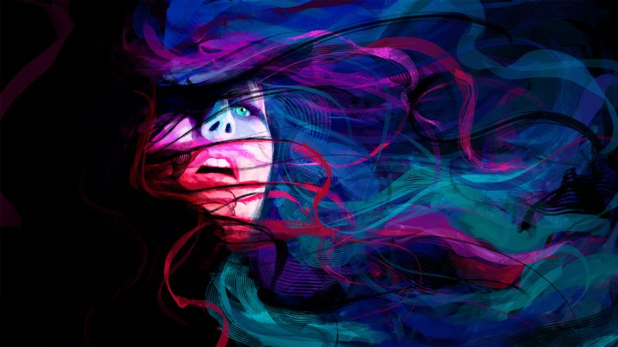 abstract girl face eyes lines psychedelic women females colors mood emotion wallpaper