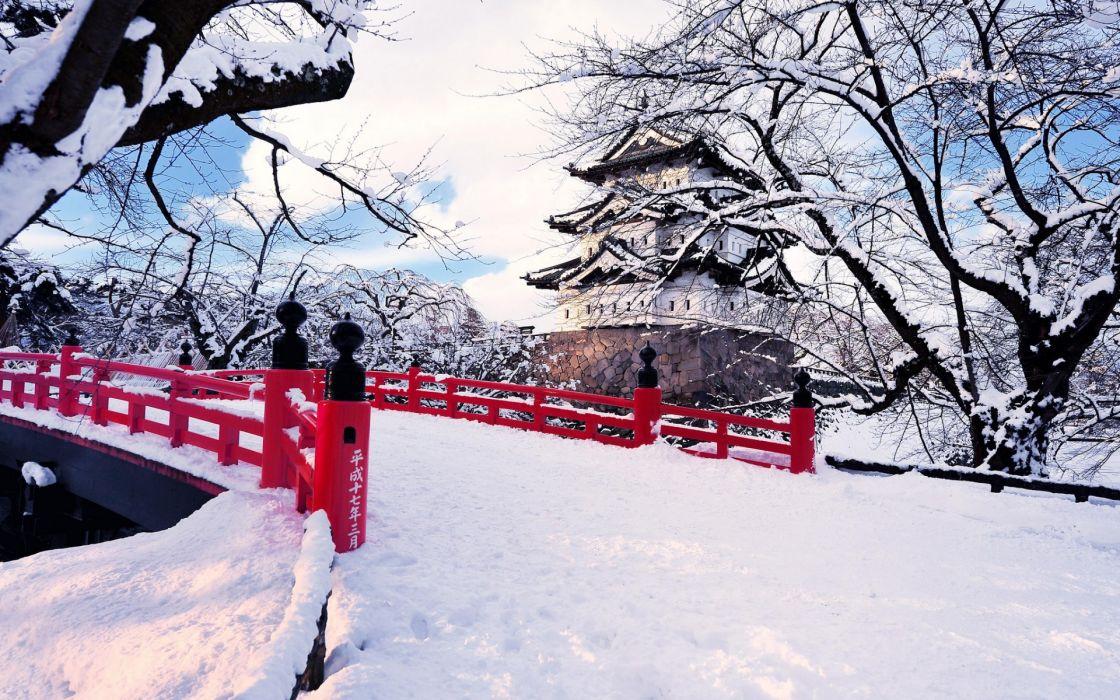 asian oriental winter snow bridge castle buildings architecture trees wallpaper