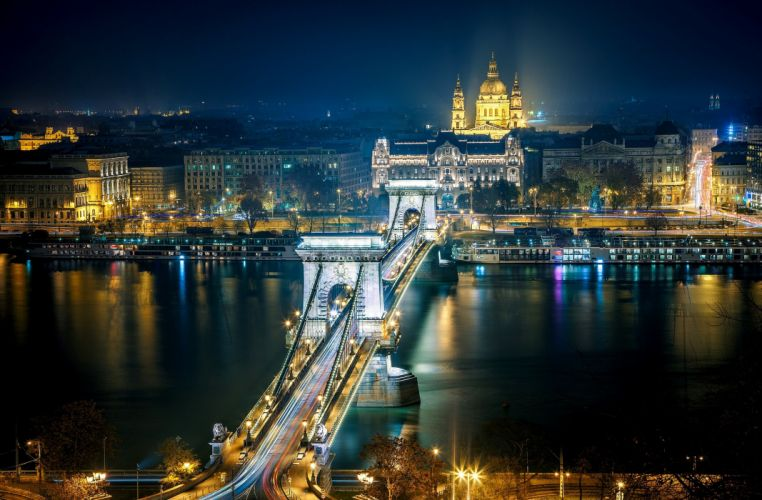 city night architecture houses buildings light roads bridges rivers night hdr wallpaper