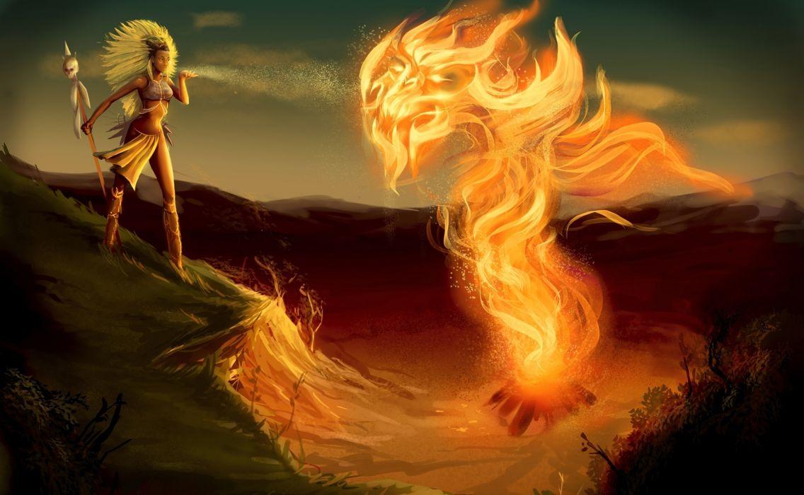 Diablo  Witch Doctor  fanart  girl  flames fantasy fire art demon wallpaper