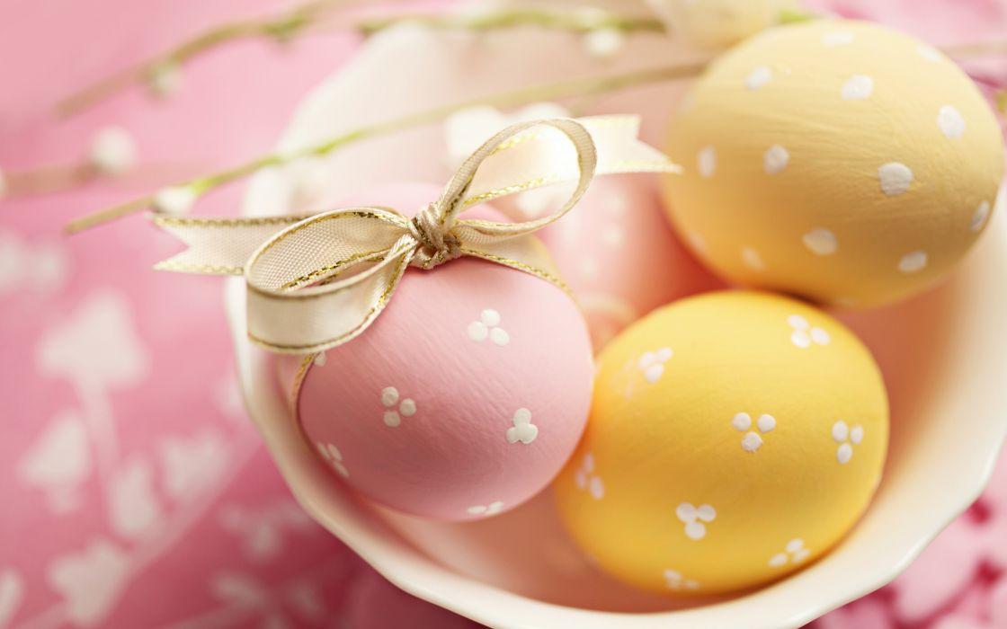 eggs Easter yellow pink ribbon tape disc holiday macro wallpaper